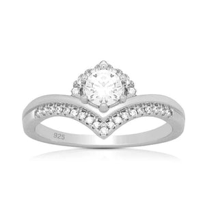 Silver rings - Sterling Silver princess CZ Ring