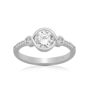 Silver rings - Sterling Silver Round cut CZ