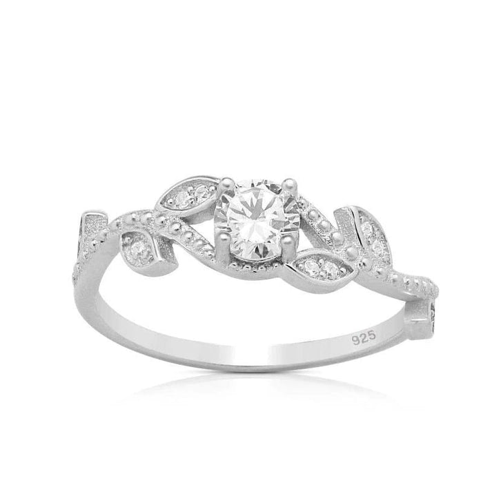 Silver Ring-Sterling Silver CZ Leaf Ring
