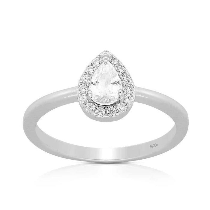 Silver Ring-Sterling Silver CZ Pear Ring