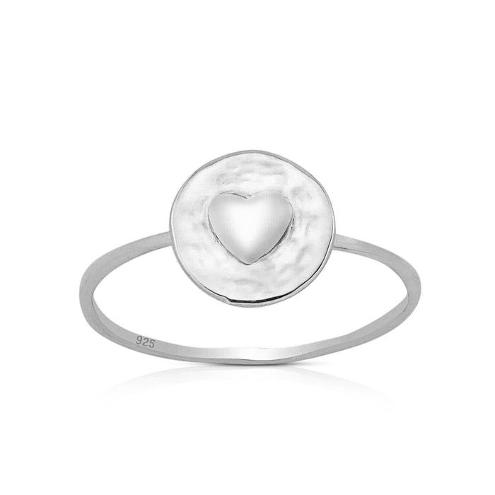 Sterling Silver Round Heart Ring