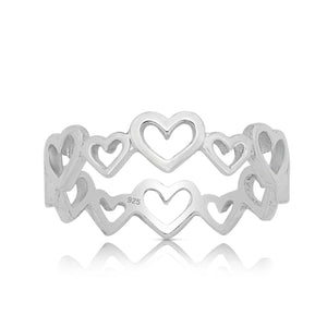 Silver Ring-Sterling Silver Multi Heart Ring