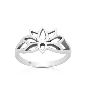 Silver Rings-Sterling Silver Lotus band Ring