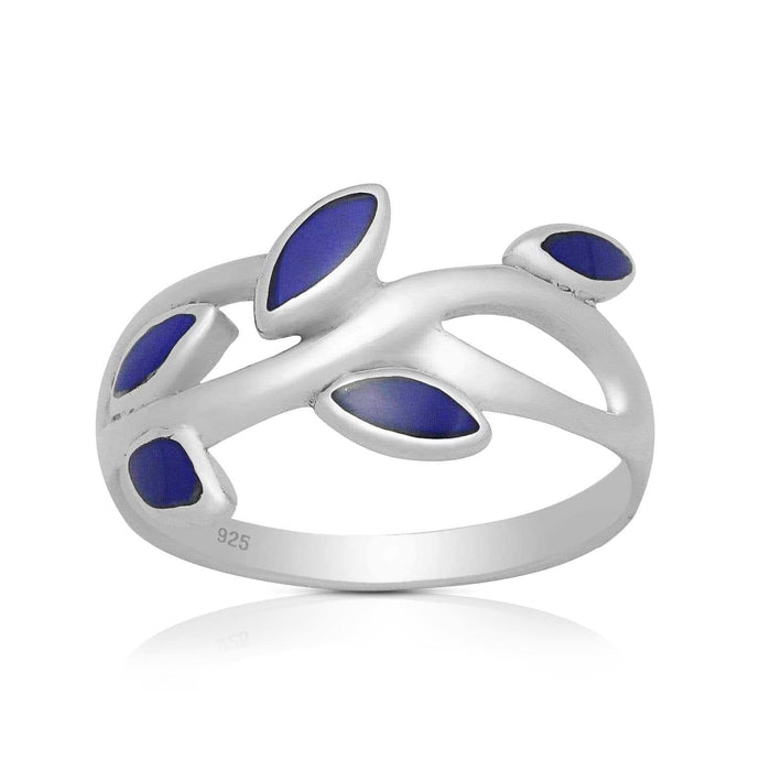 Silver Rings-Sterling Silver Lapis Leaf Ring