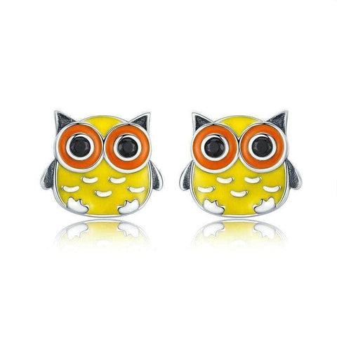 Sterling Silver Earrings | Beautiful Yellow Owl Stud Earrings - mewe-jewelry.com