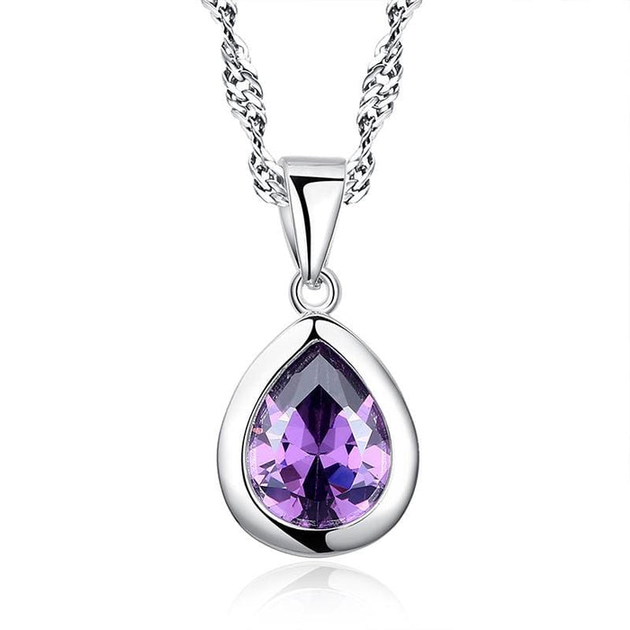 Silver Necklaces | Purple Drop Pendant
