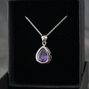 Silver Necklaces | Purple Drop Pendant (5760982213)