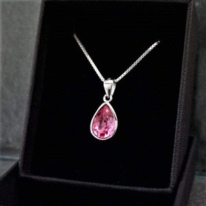 Sterling Silver Rose Swarovski Necklace