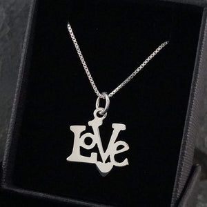 "Silver Necklace-Sterling Silver ""Love"" Pendant"