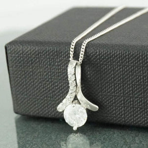 Silver Necklace | White Stone Drop Pendant