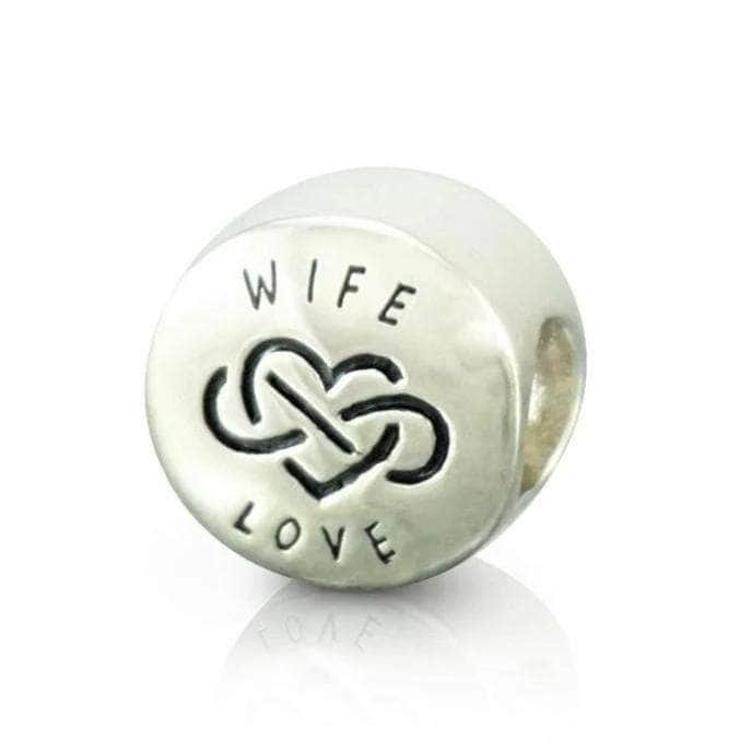 Silver infinity love wife charm