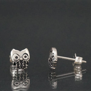 Silver Earrings |  Sterling Silver Owl stud Earrings (159351734290)