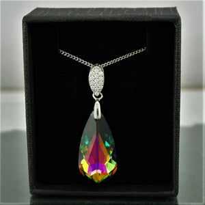 Silver Rainbow Green crystal Necklace (5765340549)