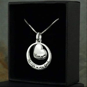 "Sterling Silver ""I love you Always in my heart"" Heart Necklace"