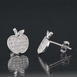 Silver Earrings | Silver apple Cubic zirconia Earrings