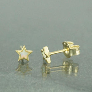 Yellow Gold White Opal Star Earrings