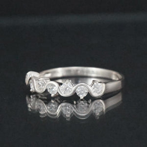 Silver Ring-Sterling Silver CZ Twist Ring
