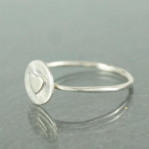 925 Sterling Silver Round Heart Ring