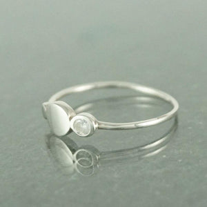 Silver Rings-Sterling Silver Circle CZ Ring