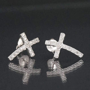 Sterling Silver Cross CZ Stud Earrings