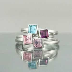 Silver Square Light Amethyst Swarovski Crystal Ring