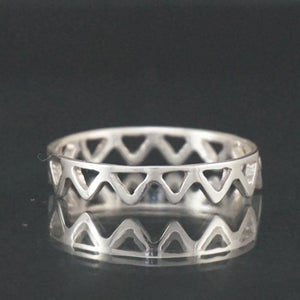 Sterling Silver open Triangles Ring