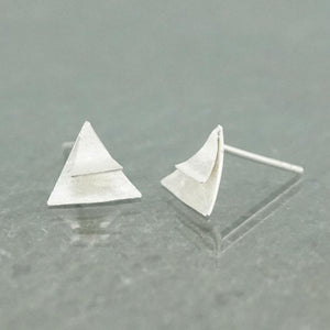 Silver Earrings - Triangle Matt Surface Earrings