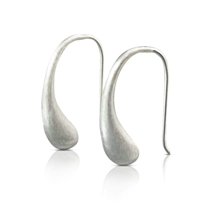 Sterling Silver Matt Hook Earrings