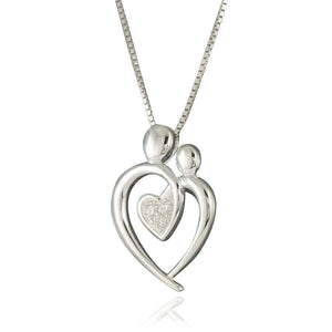 Sterling Silver Mom Child CZ Necklace