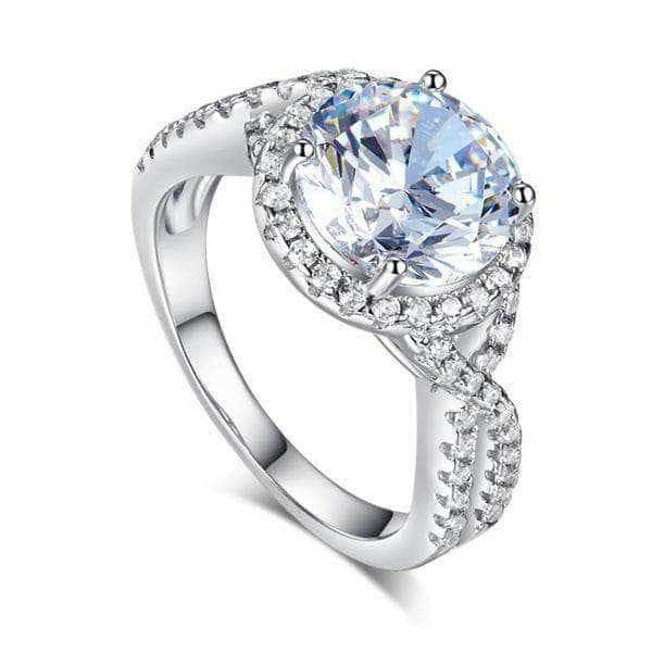 Silver Rings | Sterling Silver 3 Carat Fancy Clear stoned Ring - mewe-jewelry.com