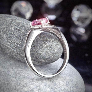 Silver Rings | Sterling Silver Twist Curl Fancy Pink Ring