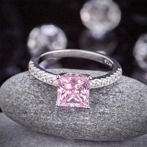 Silver Rings | Sterling Silver Pink 1.5 Ct Princess Cut Ring