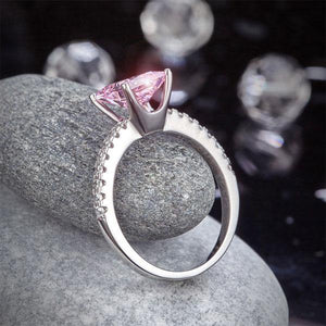 Silver Rings | Sterling Silver Pink 1.5 Ct Princess Cut Ring - mewe-jewelry.com