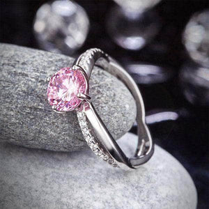 Silver Fancy Pink 1.25 Ct Created Diamond Ring