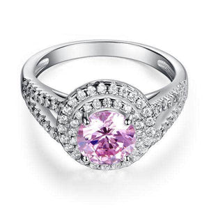 Sterling silver Double Halo 1.25 Ct Pink Created Diamond Ring