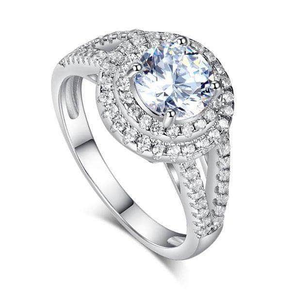 Sterling silver Double Halo 1.25 Ct Created Diamond Ring - mewe-jewelry.com