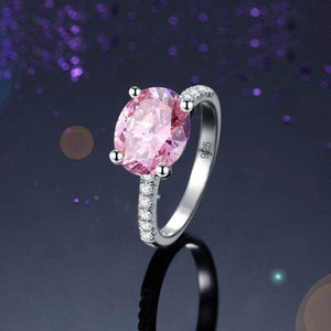 Silver Rings | Sterling Silver 4 Ct Fancy Pink Oval Cut Ring (145277288466)