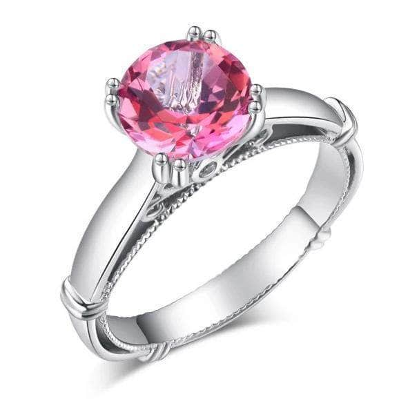 Gold rings | 14K White Gold 2 Ct Pink Topaz Engagement Ring - mewe-jewelry.com