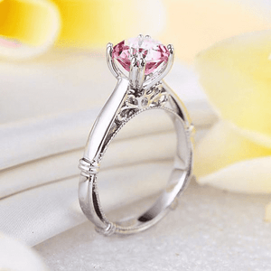 Gold rings | 14K White Gold 2 Ct Pink Topaz Engagement Ring (10020666578)