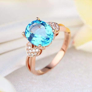 Rose Gold 3.5 Ct Swiss Blue Topaz & Natural Diamond Ring