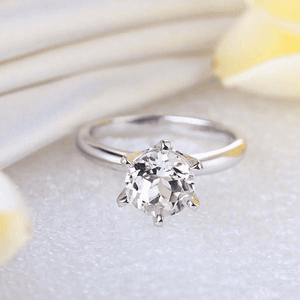 Gold rings | 14K White Gold Topaz Engagement Solitaire Ring (10018639058)