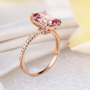 Gold rings | 14K Gold 2.8 Ct Pink Topaz Natural Diamond Ring