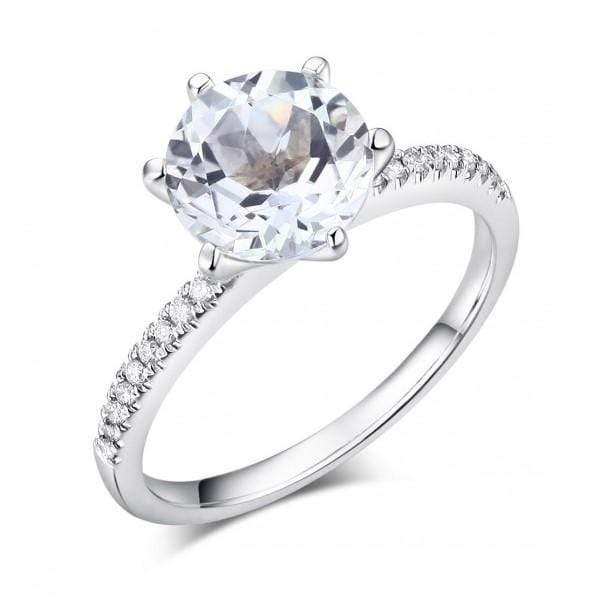 14K White Gold Engagement Topaz Ring