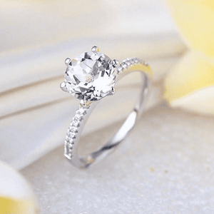 Gold rings | 14K White Gold Engagement Topaz 0.12 CT Natural Diamond Ring (10021149778)