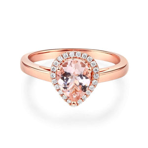 14K Rose Gold Pear Morganite 0.11 CT Natural Diamond Ring (502623862819)