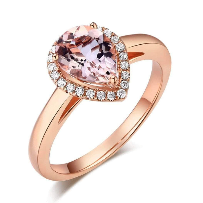 Gold Pear Morganite 0.11 CT Diamond Ring
