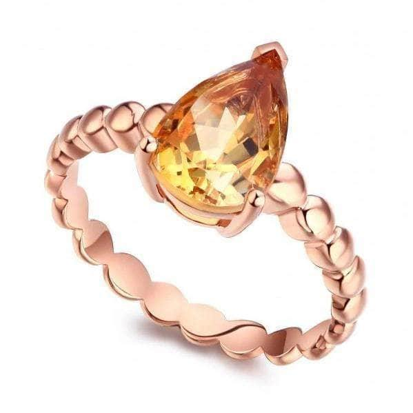 Gold rings | 14K Rose Gold Engagement 1.6 Ct Pear Citrine Solitaire Ring - mewe-jewelry.com