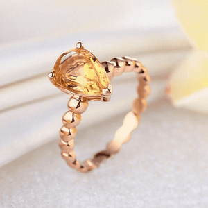 Gold rings | 14K Rose Gold Engagement 1.6 Ct Pear Citrine Solitaire Ring