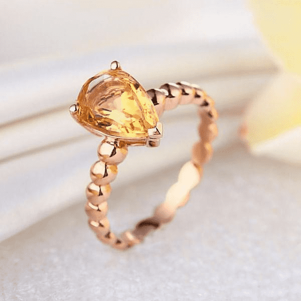 Gold rings | 14K Rose Gold Pear Citrine Solitaire Ring