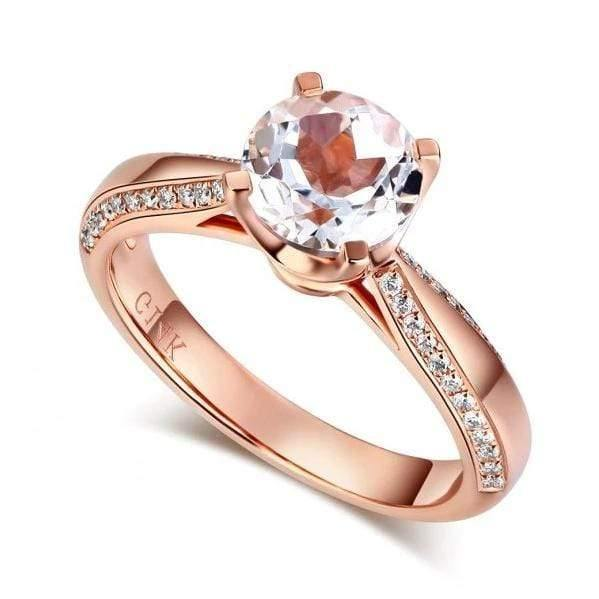 Rose Gold 1.2 Ct Topaz 0.2 Ct Natural Ring